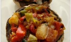 Fırında sebzeli mantar